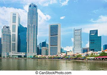 シンガポール, 超高層ビル, そして, レストラン, 上に, ボート, 波止場