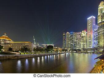シンガポール, nightline, によって, ボート, 波止場