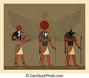 シンボル, に対して, 神, エジプト, イラスト, 背景, 隔離された, 古代, beetle., オオタマオシコガネ
