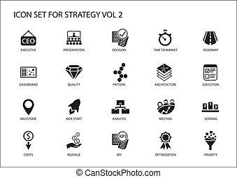 シンボル, のように, 収入, 作戦, アイコン, 戦略上である, トピック, 様々, set., optimization, コスト, マイル標石, ダッシュボード, prioritization