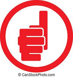 シンボル, の上, 提示, 親指, 手