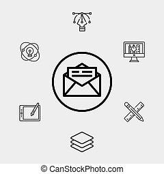 シンボル, アイコン, メール, 印, ベクトル
