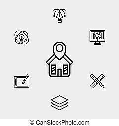 シンボル, アイコン, 印, ベクトル, 家