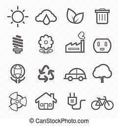 シンボル, エコロジー, 線, アイコン