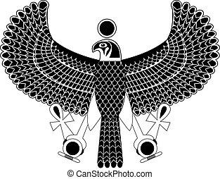 シンボル, エジプト人, タカ, 黒, 白, 古代, god., horus