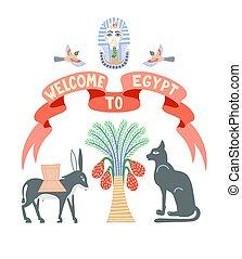 シンボル, エジプト, エジプトの神, リボン, 赤, ポスター, 歓迎, bastet, やし, ファラオ, tutankhamun, -, ろば, 日付