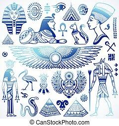 シンボル, エジプト, 隔離された, セット, ベクトル