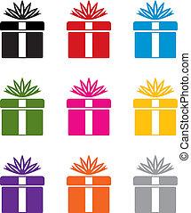 シンボル, カラフルである, セット, 贈り物, ベクトル, 箱