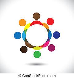 シンボル, カラフルである, 人々, 抽象的, circle-, ベクトル, グラフィック