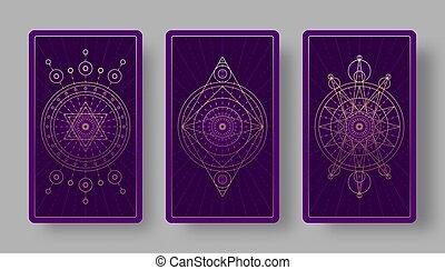 シンボル, カード, 神秘主義である, 背中, tarot, セット