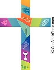 シンボル, キリスト教徒, 交差点, カラフルである
