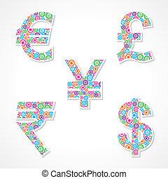 シンボル, ギヤ, 作りなさい, 通貨, グループ