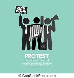 シンボル, グラフィック, グループ, 抗議者