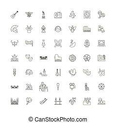 シンボル, サイン, セット, 文化, 線である, イラスト, アイコン, ベクトル, 線