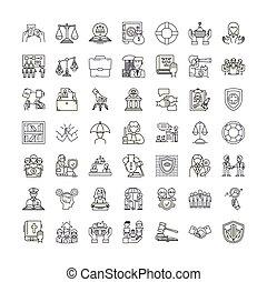 シンボル, サイン, セット, 正義, 線である, イラスト, 法律, アイコン, ベクトル, 線