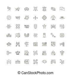 シンボル, サイン, セット, 線である, イラスト, アイコン, 分配, ベクトル, 線