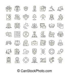 シンボル, サイン, セット, 線である, イラスト, アイコン, 法的, ベクトル, 線