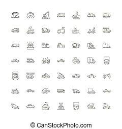 シンボル, サイン, セット, 線である, イラスト, アイコン, 自動車, ベクトル, 線