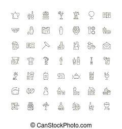 シンボル, サイン, セット, 線である, 飲むこと, イラスト, アイコン, ベクトル, 線