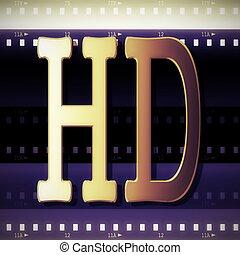 シンボル, ストリップ, フィルム, 金, hd, 3d