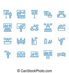 シンボル, セット, アイコン, ミーティング, プレゼンテーション, 関係した