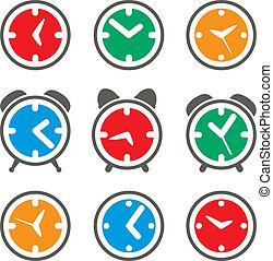 シンボル, セット, ベクトル, カラフルである, 時計