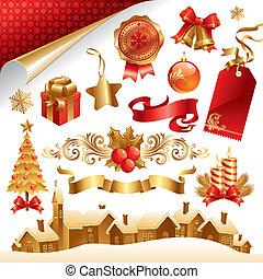 シンボル, セット, ベクトル, クリスマス, オブジェクト