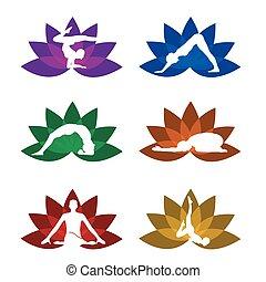 シンボル, セット, ヨガ, 瞑想