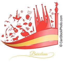 シンボル, セット, 背景, 旗, バルセロナ