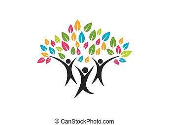 シンボル, デザイン, ロゴ, 木, 家族, アイコン