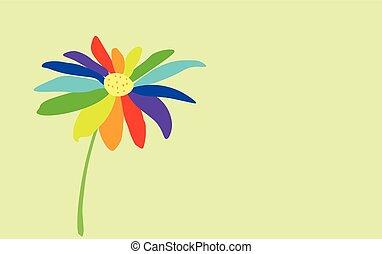 シンボル, バックグラウンド。, seven-color, 花, ペイントされた, lgbt, ライト, 穏やかに, 青
