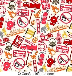 シンボル, パターン, 消防士, 背景, アイコン