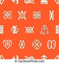 シンボル, パターン, seamless, adinkra