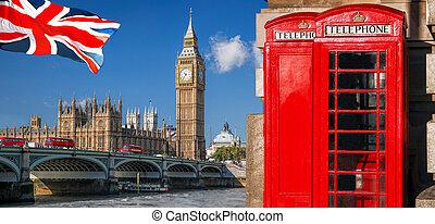 シンボル, ブース, ダブル, イギリス\, ベン, decker, 電話, 旗, ロンドン, イギリス, 大きい, バス, 赤