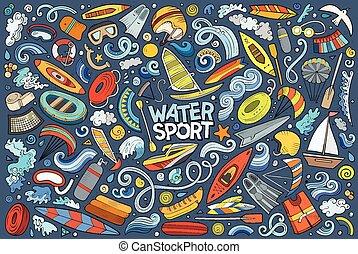 シンボル, ベクトル, オブジェクト, いたずら書き, スポーツ, 漫画, 水, セット