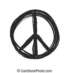 シンボル, ベクトル, グランジ, 平和