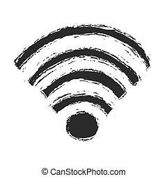 シンボル, ベクトル, グランジ, wifi