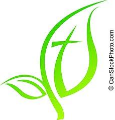 シンボル, ベクトル, 交差点, ロゴ, design., 宗教 アイコン, 葉