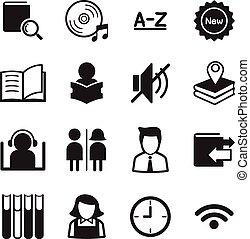 シンボル, ベクトル, 図書館, イラスト, アイコン