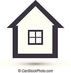 シンボル, ベクトル, 家の家, icon., 線