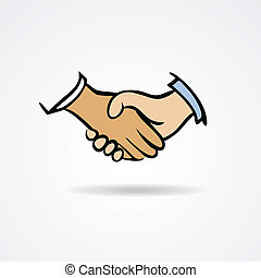 シンボル, ベクトル, 握手, スケッチ