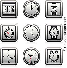 シンボル, ベクトル, 時計, 時間