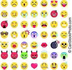 シンボル, ベクトル, emoticons, アイコン, set., イラスト, emoji