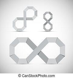 シンボル, ペーパー, 背景, セット, ベクトル, 灰色, 無限点