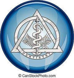 シンボル, ボタン, 医学, 歯科医術