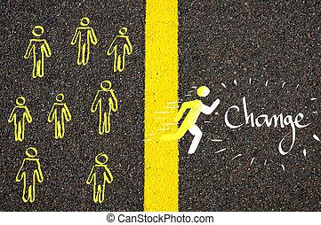 シンボル, マレ, 動くこと, 変化しなさい, 線, accross