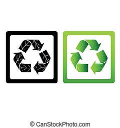 シンボル, リサイクルしなさい, ベクトル, セット