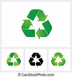 シンボル, リサイクルしなさい, eco, color., 緑, セット, icon.