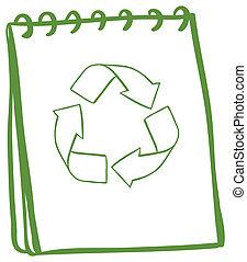 シンボル, リサイクル, 緑, ノート