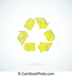 シンボル, リサイクル, 緑, 幾何学的, アイコン